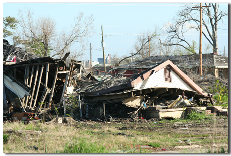 demolished house in the 9th ward